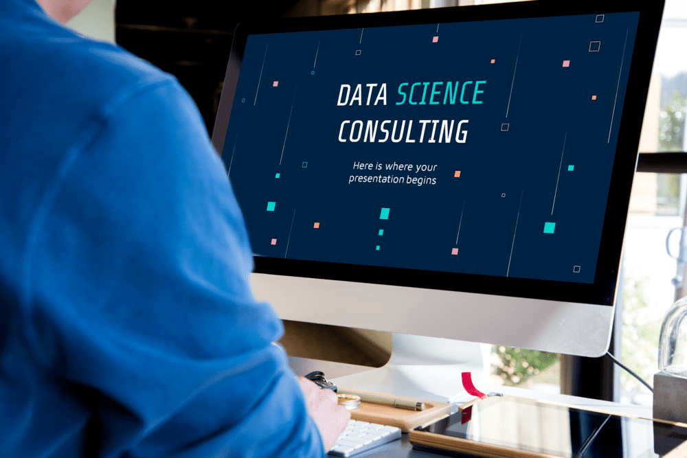 Desktop Mockup for Free Data Science Consulting Powerpoint template.