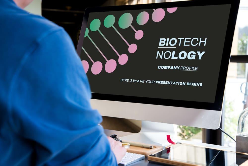 Desktop Mockup for Free Biotechnology Company Profile Presentation.