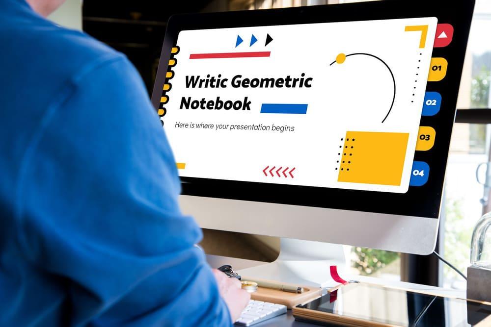 Desktop Mockup Writic Geometric Notebook Powerpoint Template.