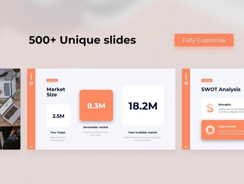 500+ Unique Slides Light Theme Pitch Deck & Presentation V3.0.