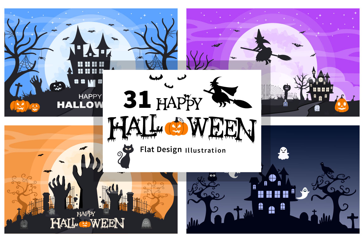 Halloween Night Party Landing Page Illustration With Witch, Haunted House, Pumpkins, Bats and Full Moon.