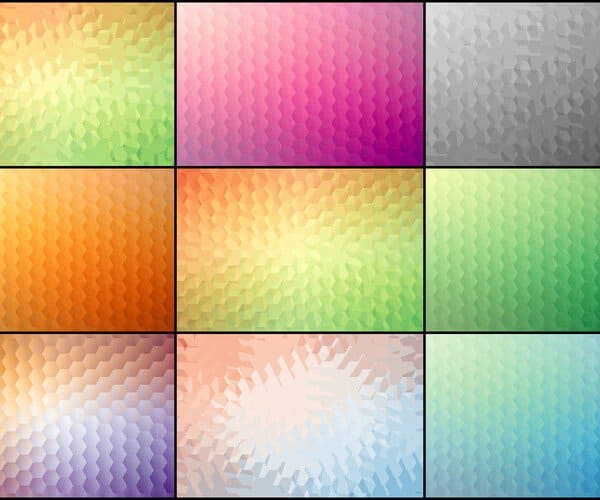 9 Abstract Hexagon Backgrounds.