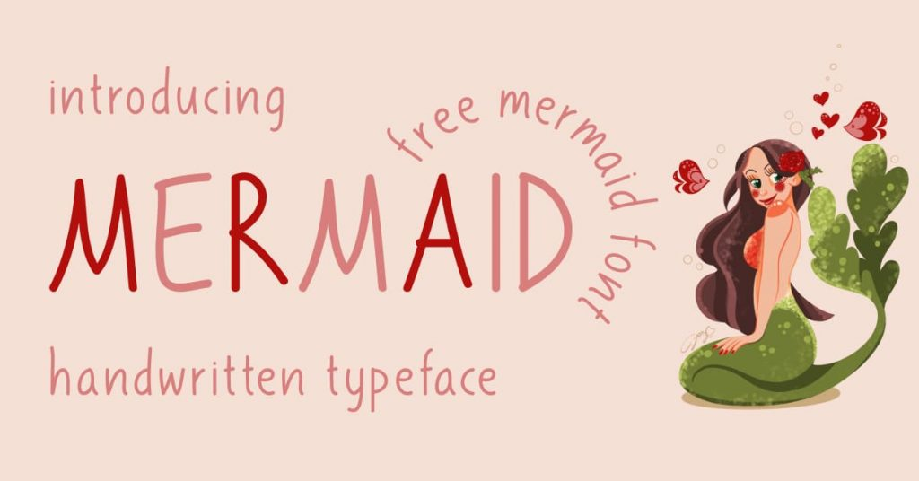 Free Mermaid Font preview for Facebook by MasterBundles.