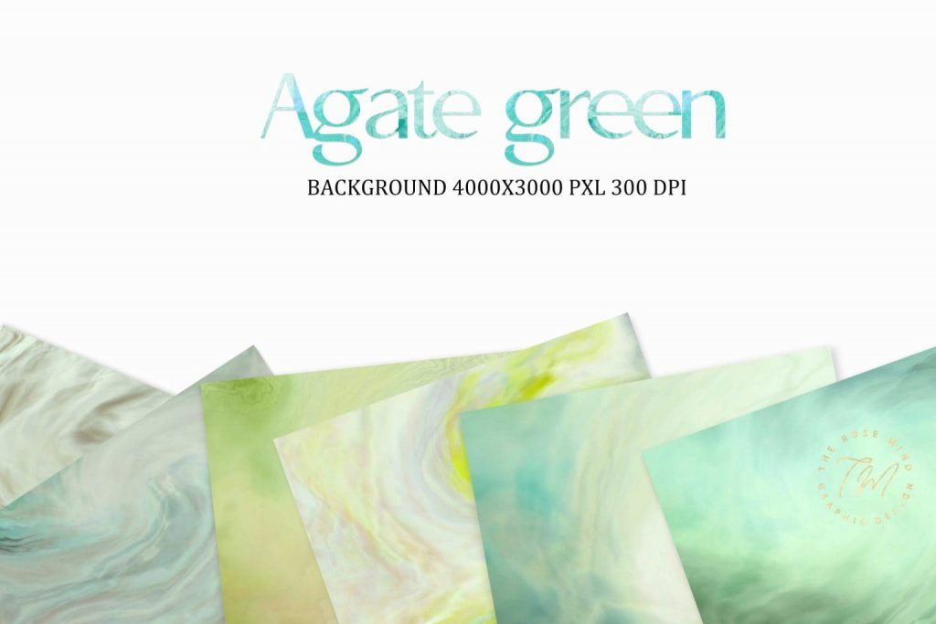 Abstract backgrounds Agate green: 18 digital paper.
