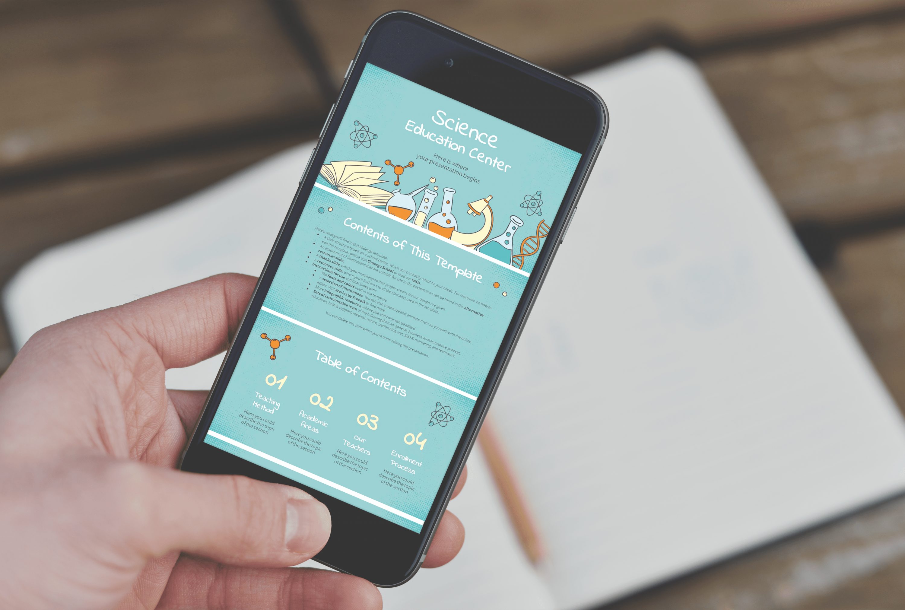 Free Science Education Center PowerPoint Template by MasterBundles mobile option.