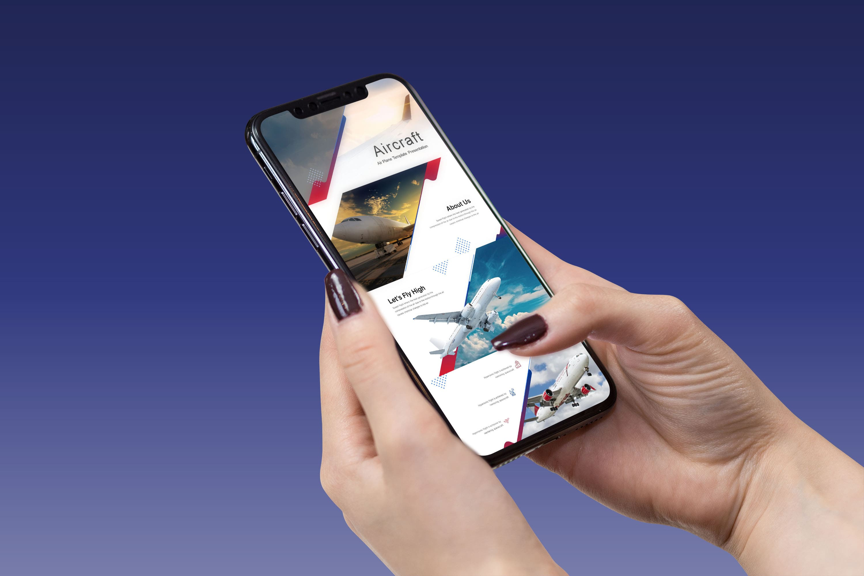 Aircraft Presentation: Powerpoint, Keynote, Google Slides MasterBundles mobile preview mockup image.