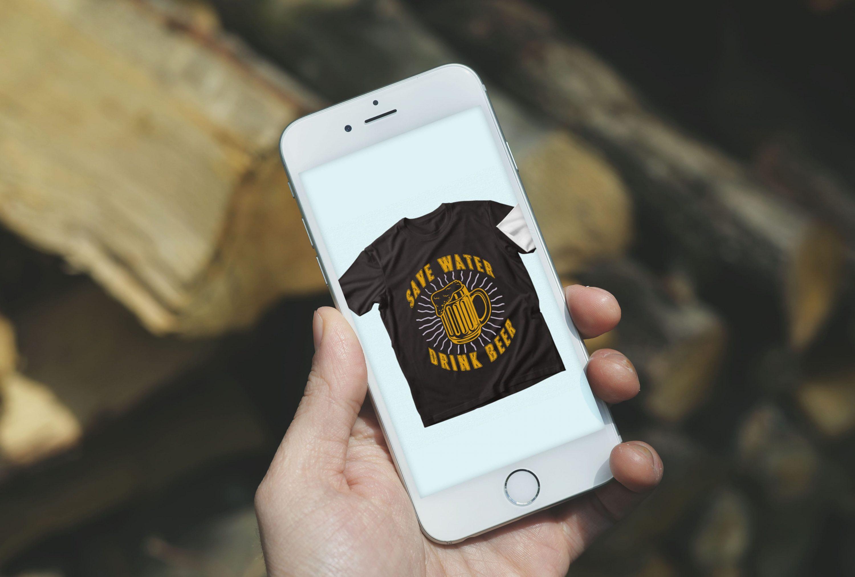 Trendy 20 Beer Quotes T-shirt Designs Bundle by MasterBundles mobile preview mockup image.
