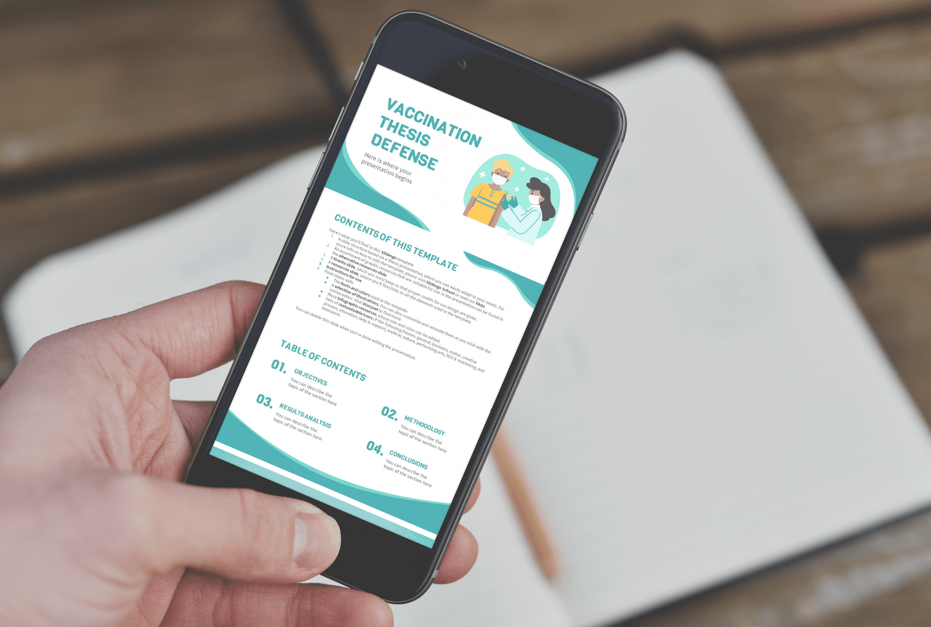 Free Vaccination Thesis Defense Powerpoint Template by MasterBundles mobile.