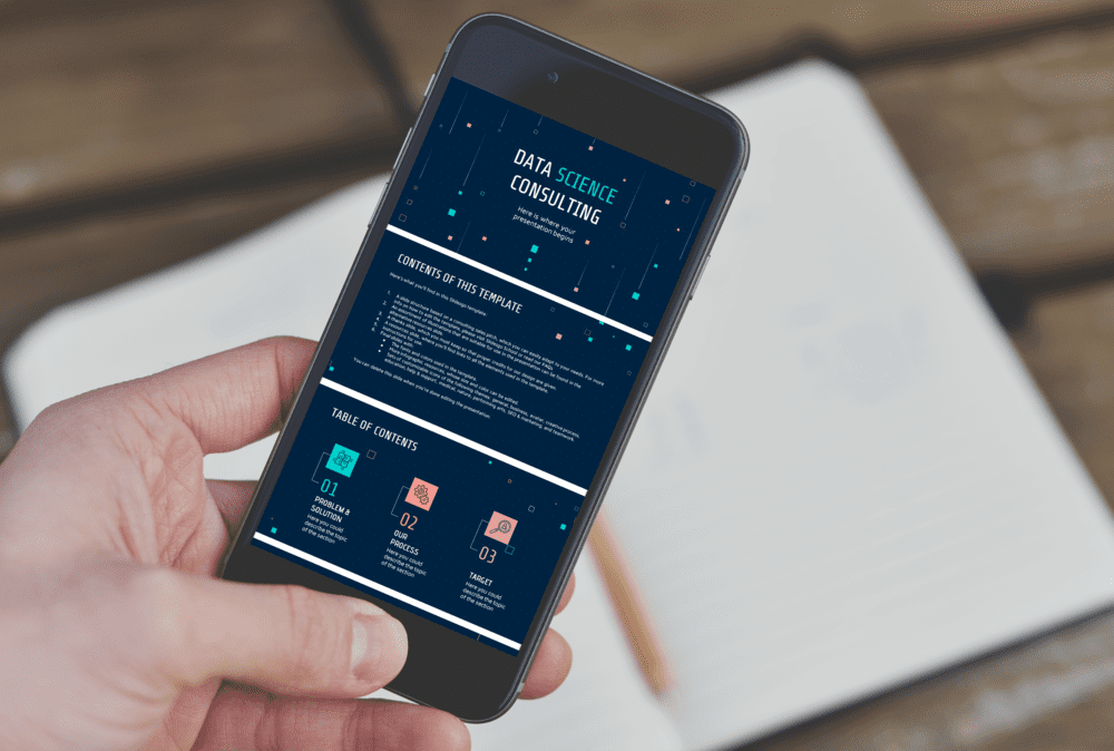 Mobile Mockup for Free Data Science Consulting Powerpoint template.