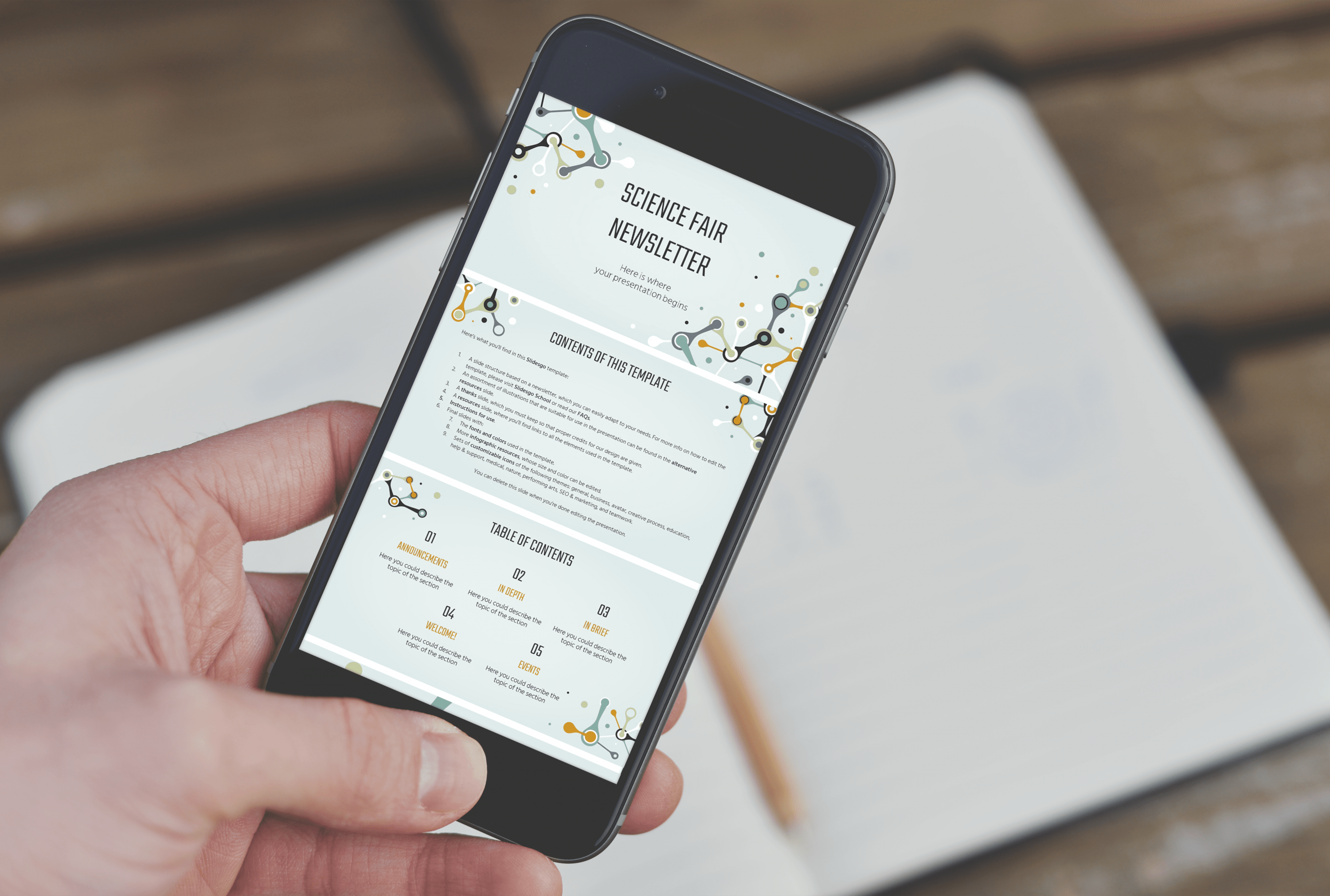 Free Science Fair Newsletter Powerpoint Template by MasterBundles mobile.