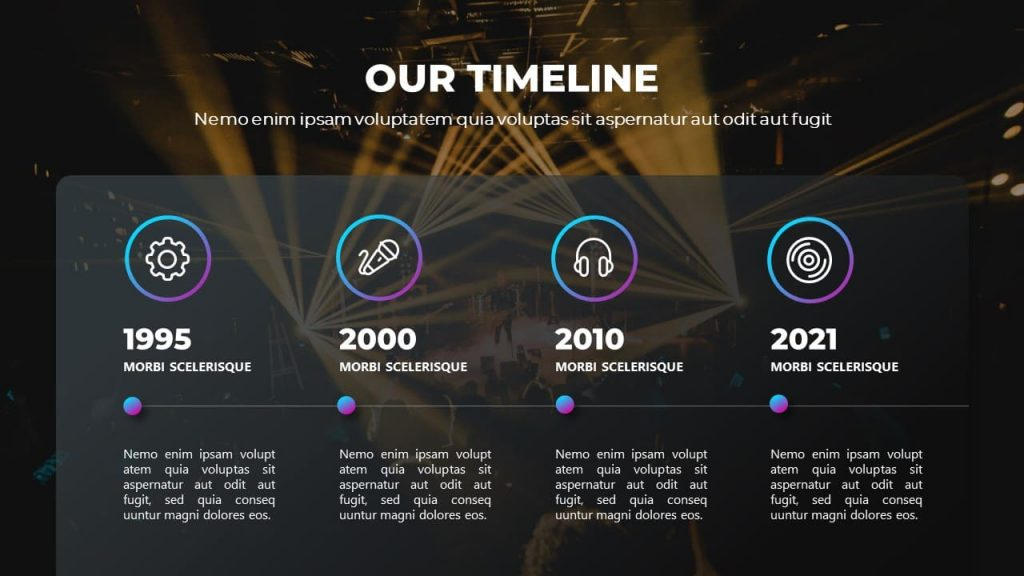 Slide with Timeline Musical PowerPoint presentation.
