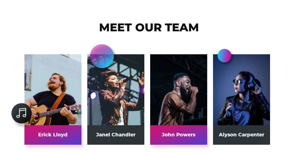 Meet our team Musical PowerPoint presentation.