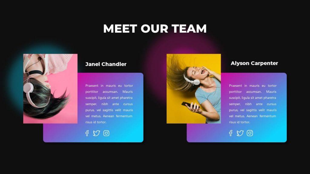 Slide Meet Our Team Music PowerPoint Presentation.