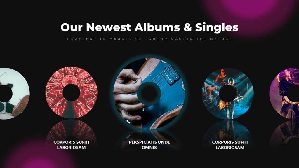 Album and Singles Slide Music PowerPoint Presentation.