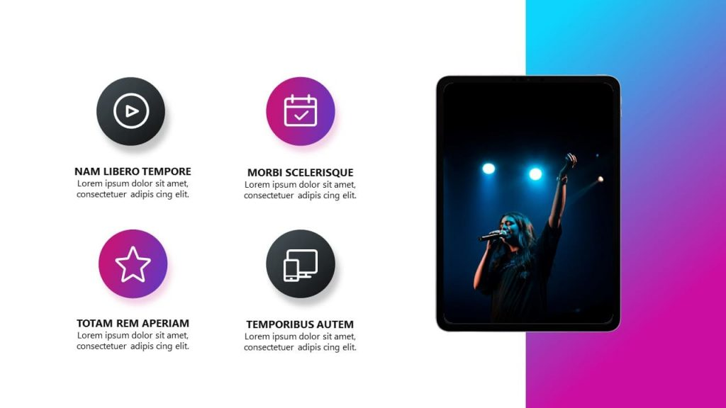 Tablet device mockup. Musical PowerPoint presentation.