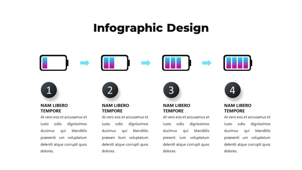 Battery charge infographic design. Musical PowerPoint presentation.
