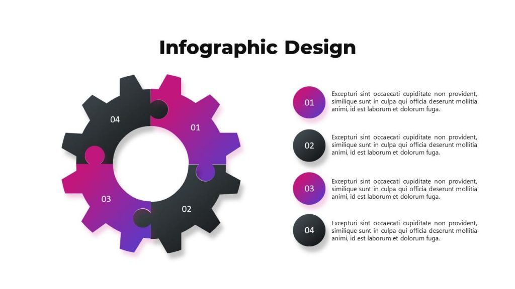 Infographic design for lists. Musical PowerPoint presentation.