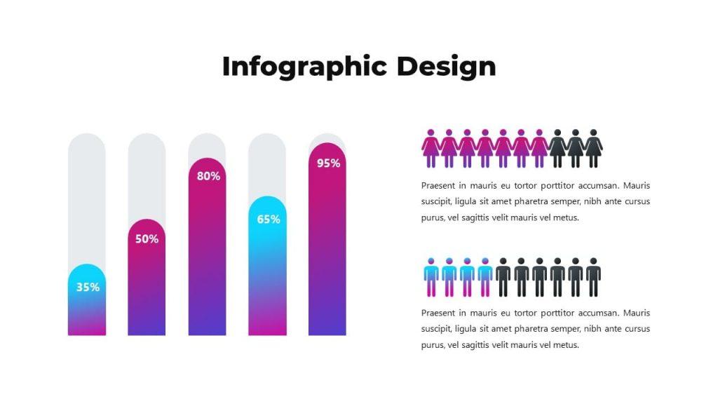 Infographic design for audience description. Musical PowerPoint presentation.