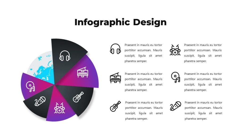Infographic diagram design. Musical PowerPoint presentation.