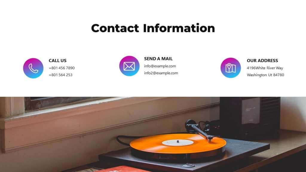 Slide with contacts. Musical PowerPoint presentation.