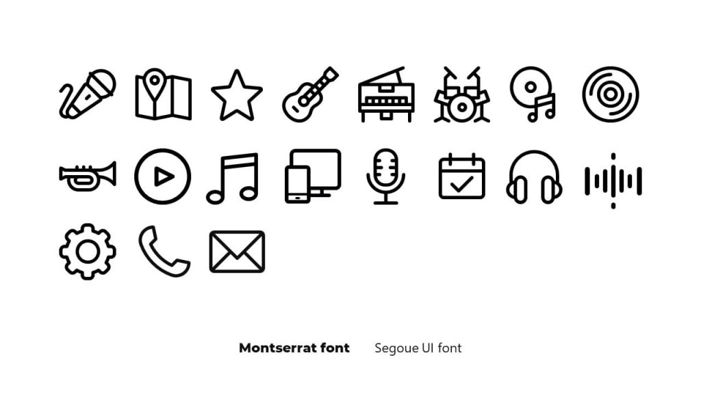 Icons and fonts. Musical PowerPoint presentation.