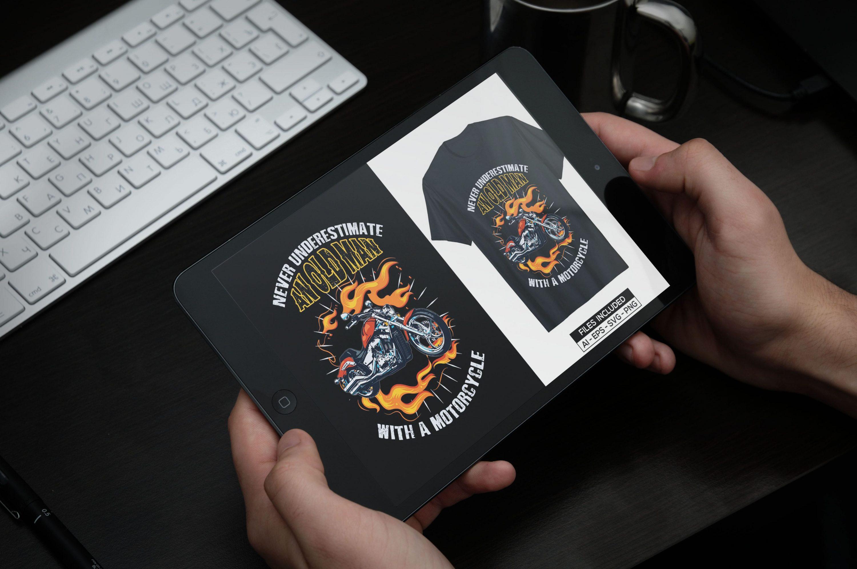 Motorcycle T-shirt Design Bundle by MasterBundles note preview mockup image.