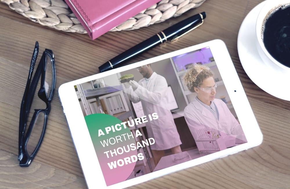Note Mockup for Free Biotechnology Company Profile Presentation.
