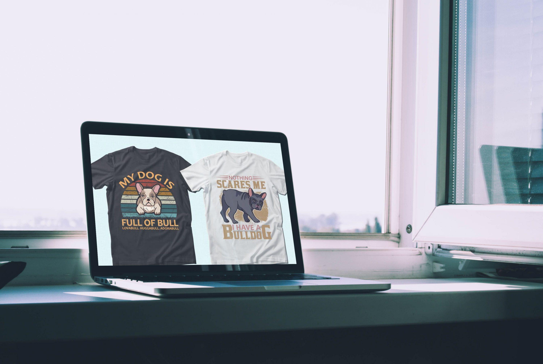 Trendy 20 Bulldog Quotes T-shirt Designs Bundle by MasterBundles notebook preview mockup image.