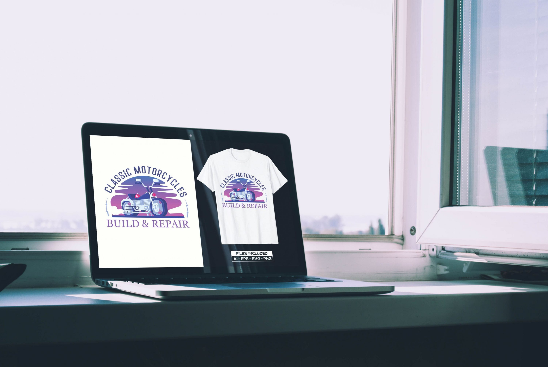 Motorcycle T-shirt Design Bundle by MasterBundles notebook preview mockup image.
