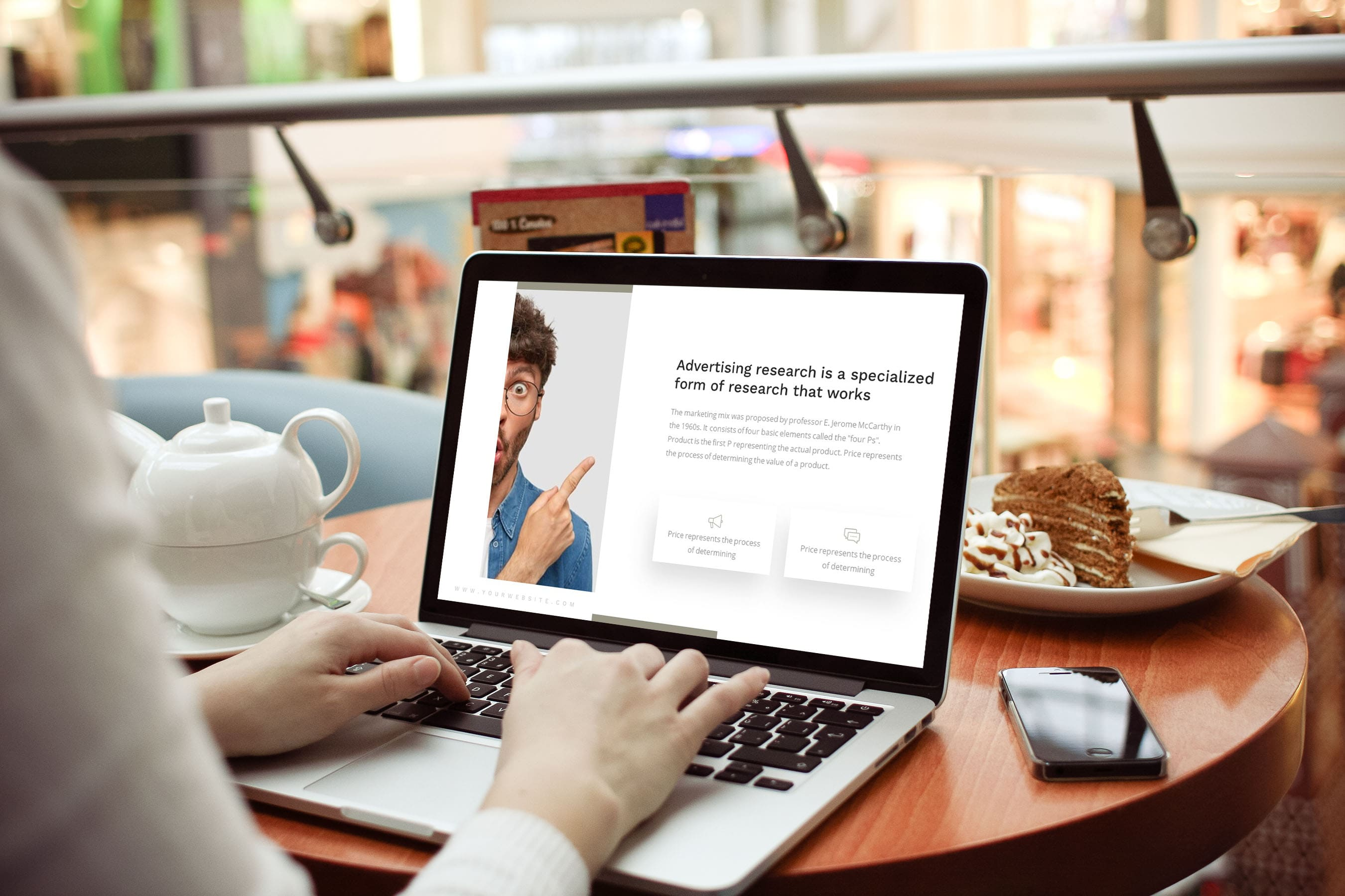 Advertising Presentation by MasterBundles notebook preview mockup image.