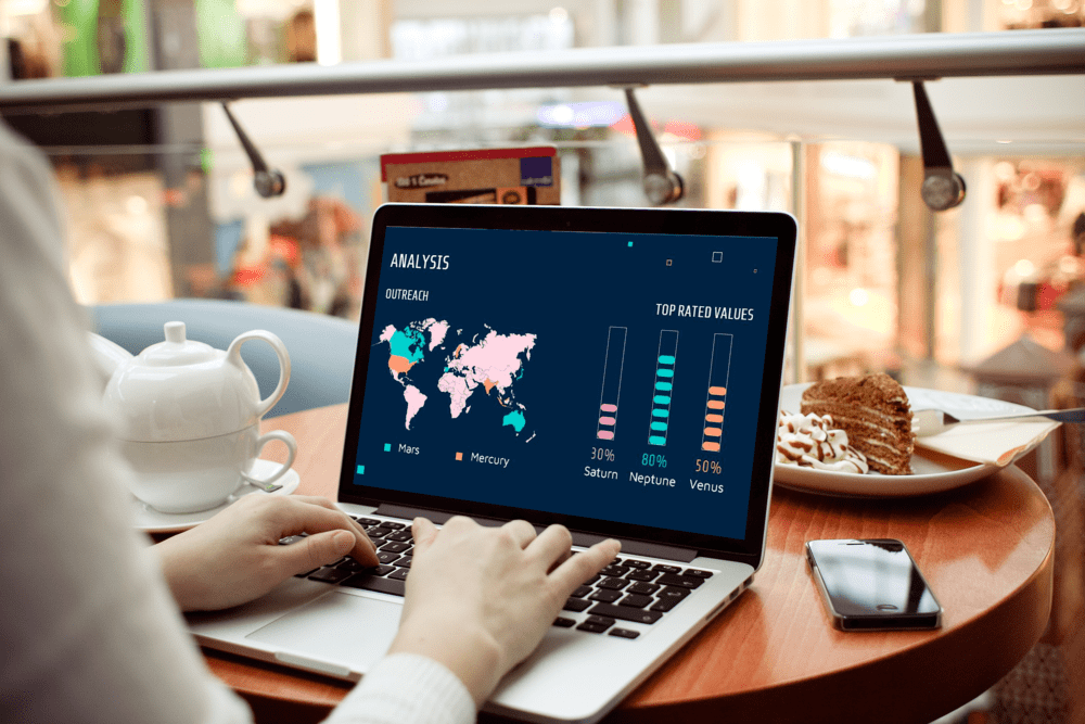 Notebook Mockup preview for Free Data Science Consulting Powerpoint template.