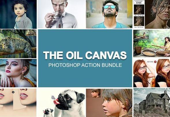 The Oil Canvas Photoshop Actions Bundle.