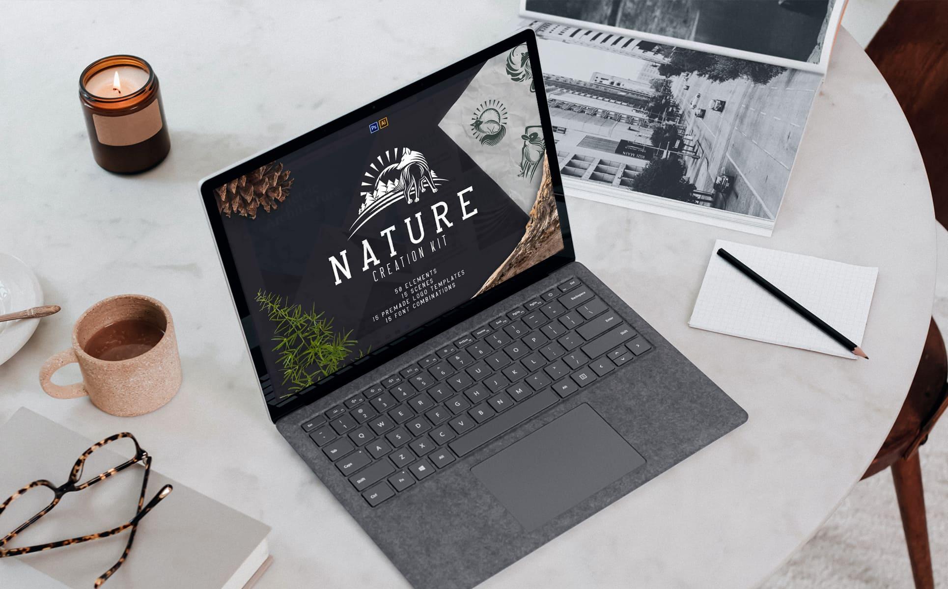 Nature Creation Kit: Logo, Elements by MasterBundles notebook preview mockup image.