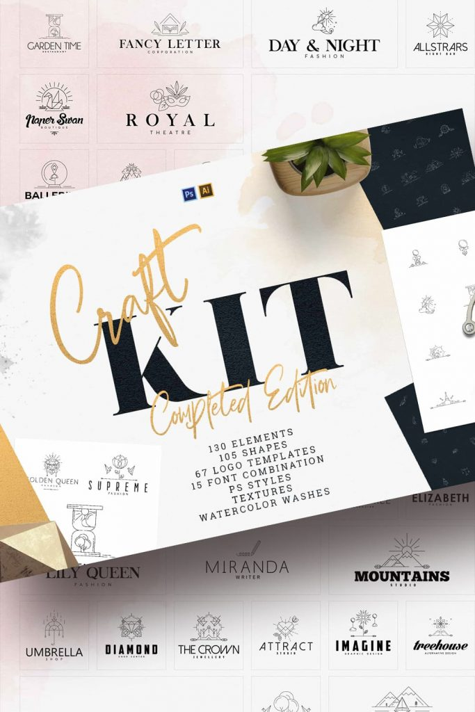 Craft Kit: Logo templates, Shapes, Elements by MasterBundles Pinterest Collage Image.