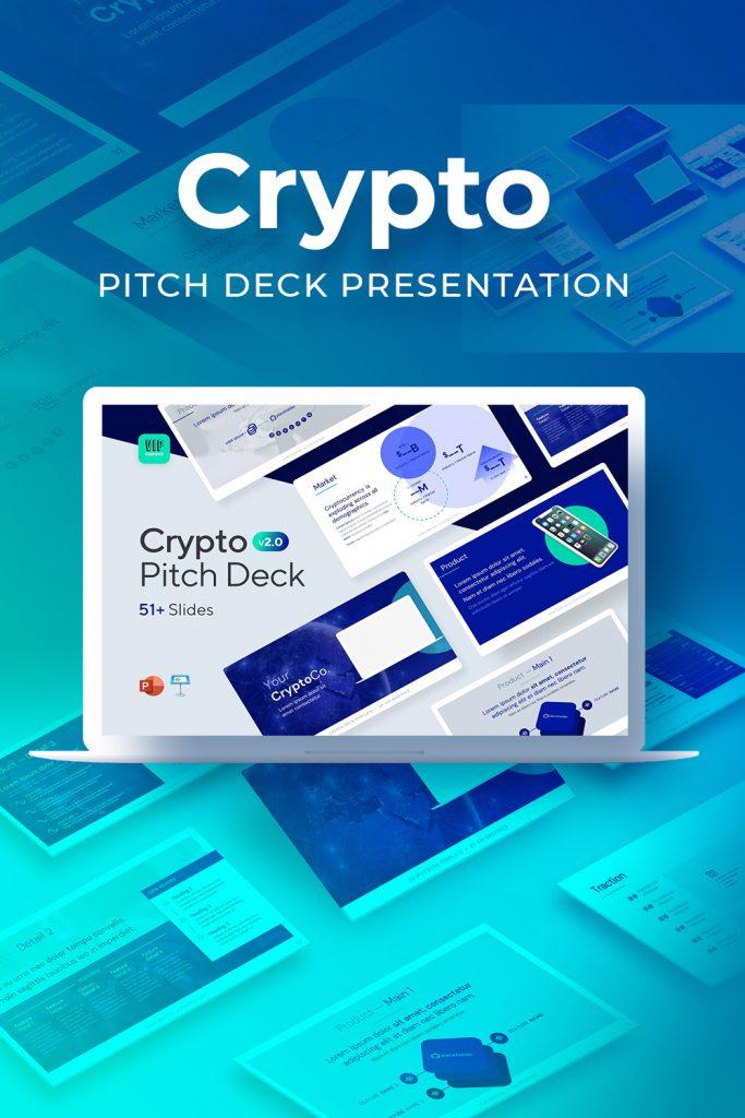 Crypto Pitch Deck Presentation by MasterBundles Pinterest Collage Image.