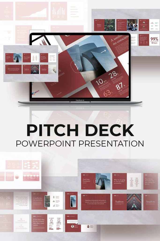 Pitch Deck Powerpoint Template by MasterBundles Pinterest Collage Image.