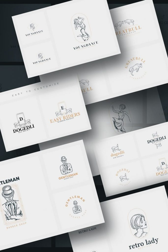 32 Art Deco Logo Templates by MasterBundles Pinterest Collage Image.