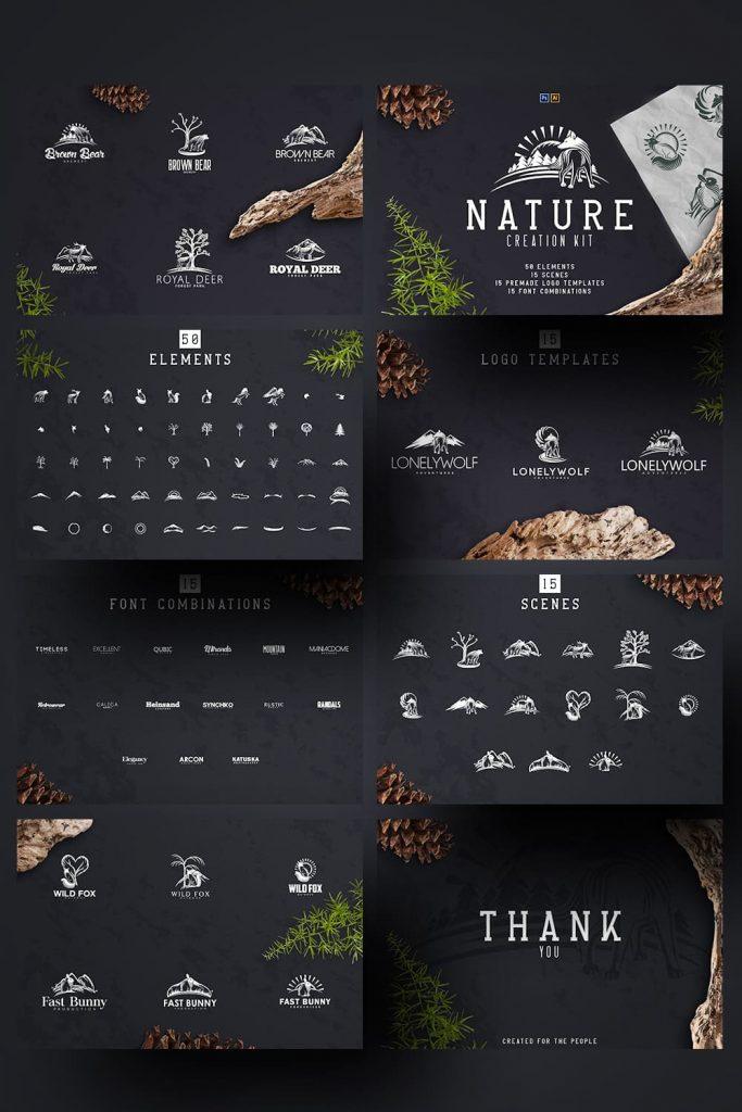 Nature Creation Kit: Logo, Elements by MasterBundles Pinterest Collage Image.