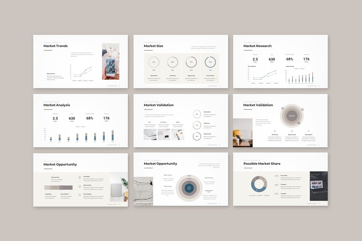 Slides Market Pitch Deck PowerPoint Template.