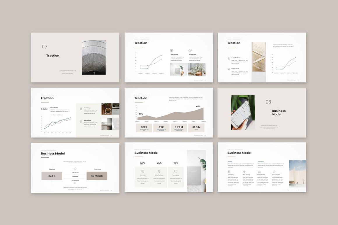 Slides Traction Pitch Deck PowerPoint Template.