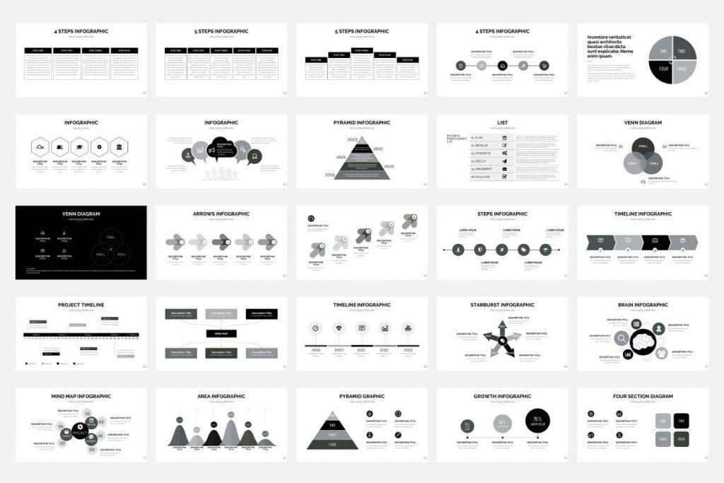 Black and White Pitch Deck - Presentation Dashboard.