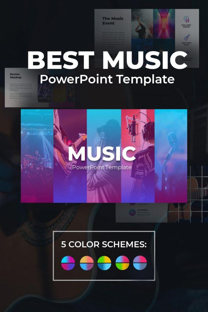 01Preview 50 Slides Music Presentation Template 2021: Powerpoint, Google Slides & Keynote by MasterBundles Pinterest Collage Image.