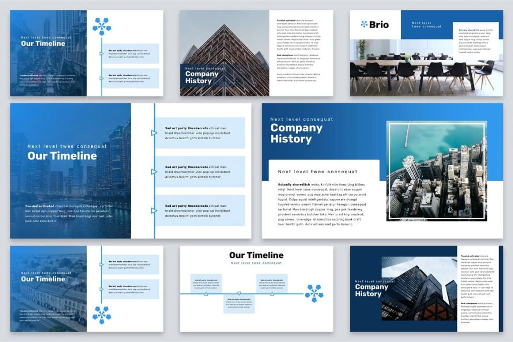 Company History Timeline Brio Business Powerpoint Template.
