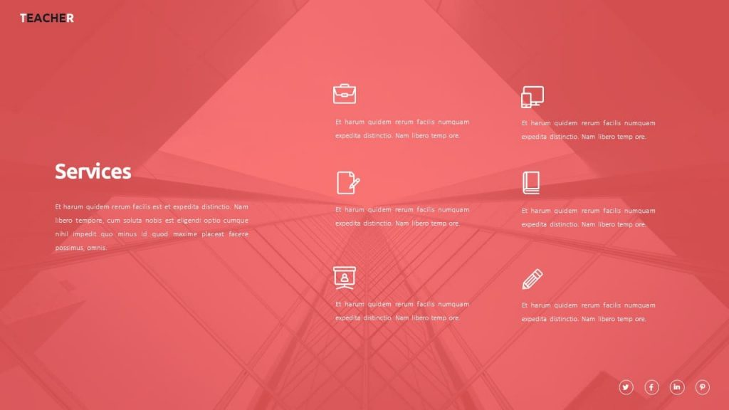 Slide with description of services on a red background. Teacher Presentation Template.