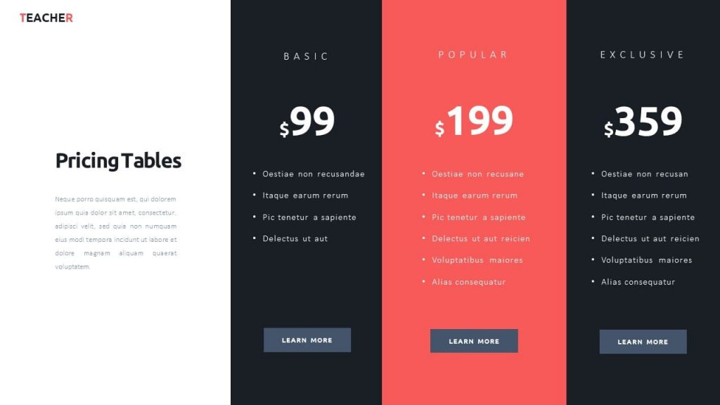 Slide with prices. Teacher Presentation Template.