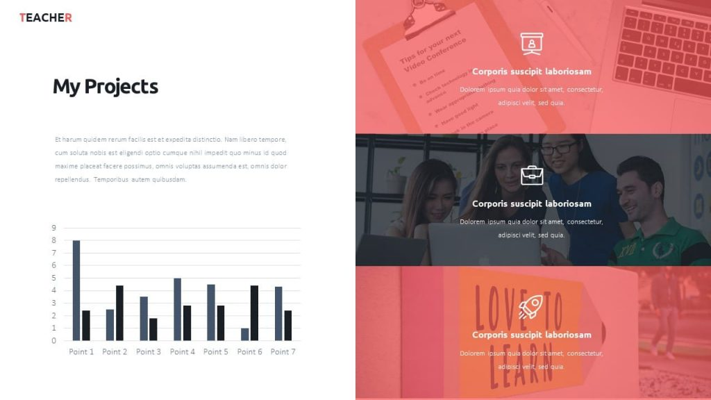 My projects + diagrams. Teacher presentation template.
