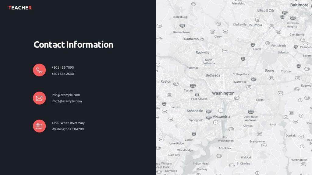 Contact Information. Teacher presentation template.