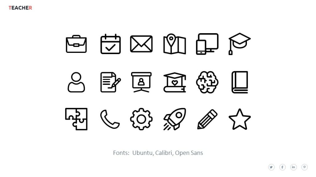 Icons and fonts. Teacher presentation template.
