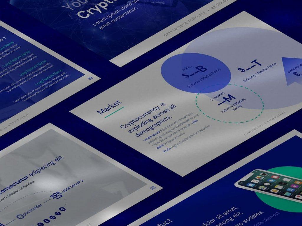 600+ Unique Graphic Elements Crypto Pitch Deck Presentation.