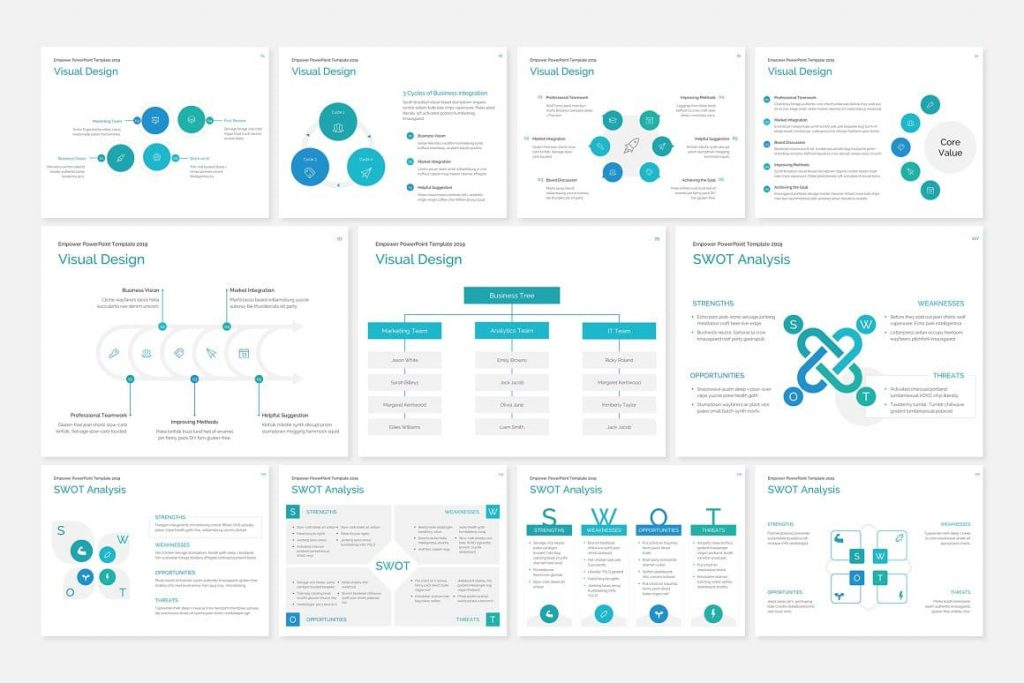 Several graphs and charts EMPOWER PowerPoint Template.